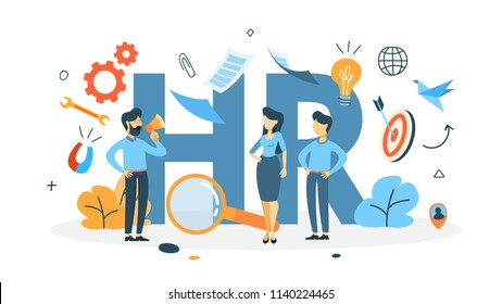 Recruitment concept. Idea of choosing a candidate to hire. Human resources management. Flat line vector illustration