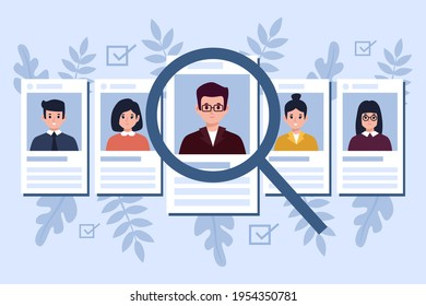 Recruitment concept. Search, choice of worker for company. Check professional experience candidate job vacancy. Personnel work. Headhunter employer. Hire or select employee. Vector illustration.