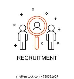 Recruitment. Creative Idea Concept. Modern Flat thin line icon designed vector illustration.Editable Stroke.