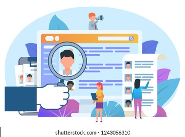 Recruitment department, search for new employees. Small people stand near big screen, recruitment website. Poster for web page, social media, banner, presentation. Flat design vector illustration