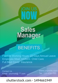 Recruitment design poster or Banner template. 2019 Job or hire Vacancy Advertisement. Concept of a flyer on a blue with infographic  background. Web design, banner template, infographic. Vector EPS10