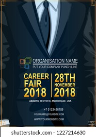 Recruitment design poster with business suit and tie. We are hiring & career fair invitation  golden lettering on dark blue background. Vector illustration EPS 10.  Open Vacancy design.