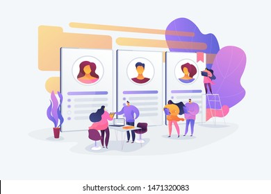 Recruitment and employment service. HR agency and headhunting company. Job interview, employment process, choosing a candidate concept. Vector isolated concept creative illustration