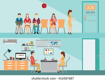 Recruitment flat banner set with candidates sitting on chair front of a door for giving interview, job interview, hired the job, human resources conceptual vector illustration.