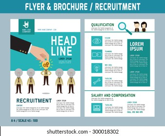 Recruitment flyer design vector template in A4 size. Brochure and Layout Design. business concept.