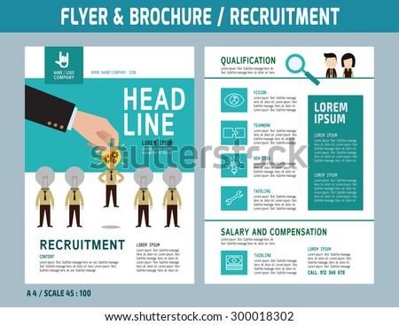 recruitment flyer design vector template a 4 stock vector royalty
