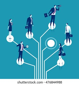 Recruitment. Group of business persons standing on logic tree. Business concept illustration.