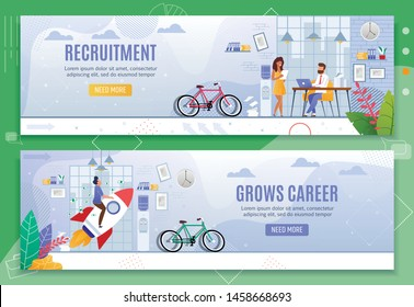 Recruitment and Grows Career Business Banner Set. Human Resources Management, Searching Employees and Interviewing. Professional Growth and Achievements. Vector Flat Office Characters Illustration
