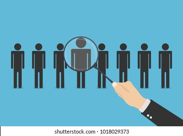 Recruitment. Hand with magnifying glass search the best candidate or employee. Hiring for a job concept. People silhouette. Template design for a recruitment agency or headhunting. Vector illustration