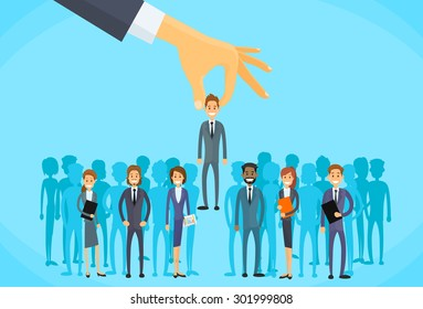 Recruitment Hand Picking Business Person Candidate People Group Flat Vector Illustration