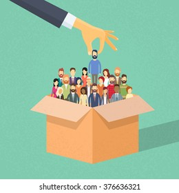 Recruitment Hand Picking Business Person Candidate from Box People Group Business people Human Resources Crowd Flat Vector Illustration