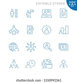 Recruitment and head hunting related icons. Editable stroke. Thin vector icon set