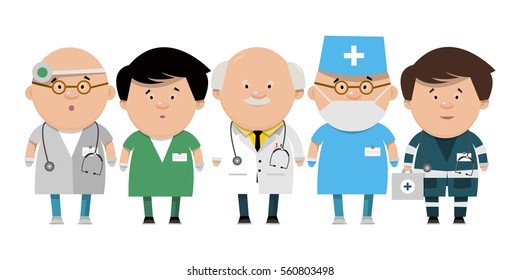Recruitment of health workers. Doctors different directions in flat style. Vector illustration isolated on white background