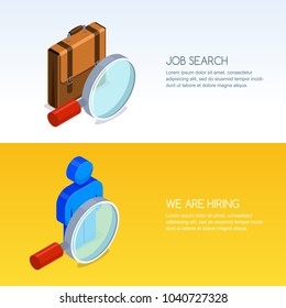 Recruitment, human resources and job seeking concept. Vector banner set with 3d isometric illustration of magnifier, briefcase and man silhouette. Business staff hiring icons.