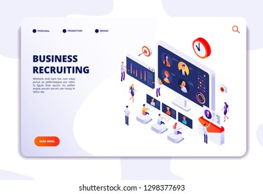 Recruitment landing page. Businessmen have interview in office. Hr employment agency, online recruitment isometric vector concept
