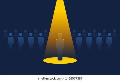 Recruitment or leadership concept people row with spotlight selected one - creative visualization of people challenge competition