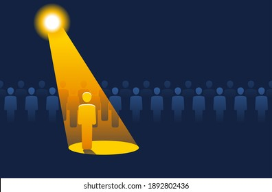 Recruitment or leadership concept. People row with spotlight highlighted one - creative visualization of people challenge competition