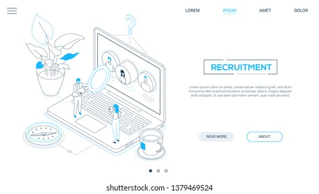 Recruitment - line design style isometric web banner on white background with copy space for text. A website header with male, female managers choosing best candidate, looking at CVs on laptop screen