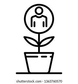Recruitment man plant icon. Outline recruitment man plant vector icon for web design isolated on white background