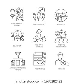 Recruitment pixel perfect linear icons set. Executive search, professional headhunting customizable thin line contour symbols. Isolated vector outline illustrations. Editable stroke