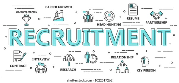 Recruitment Process Flat Background