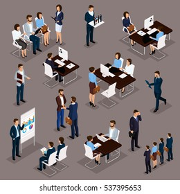 Recruitment process to set isometric business employees on a dark background. Vector illustration.