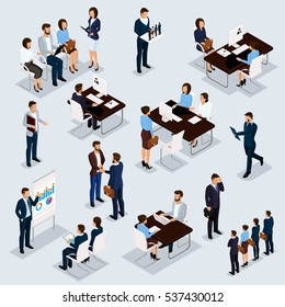 Recruitment process to set isometric business employees on a gray background. Vector illustration.