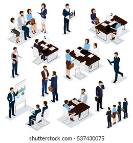 Recruitment process to set isometric business employees on a white background. Vector illustration.