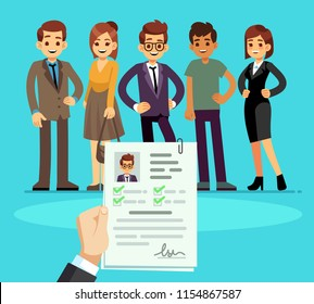 Recruitment. Recruiter choosing candidates with cv resume. Human resource and job interview vector concept. Illustration of human candidate, hiring resource