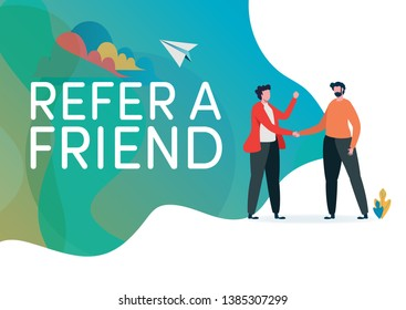 Recruitment. Refer a friend vector illustration. Handshake of business people. Deal,Agreement. Flat cartoon character graphic design. Landing page template,banner,flyer,poster,web page