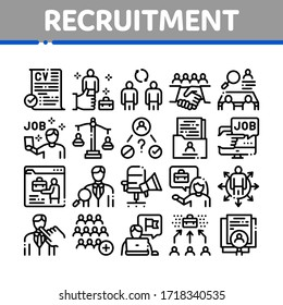 Recruitment And Research Employee Icons Set Vector. Curriculum Vitae Cv And Professional Career, Interview And Recruitment Concept Linear Pictograms. Monochrome Contour Illustrations