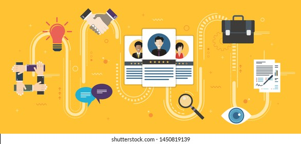 Recruitment and selection of people qualified for employment. Hiring and recruitment concept, job interview, qualified professionals. Icon set business. Flat design web banners in vector illustration.