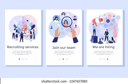 Recruitment service concept illustration set, perfect for banner, mobile app, landing page