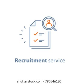 Recruitment service, human resources,  choose candidate, fill vacancy, employment concept, application form review, staff search, questionnaire check list, vector line icon, thin stroke