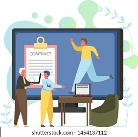 Recruitment vector flat style design illustration. Big clipboard with contract form, running man on computer monitor and tiny characters. Job agency online services concept for web banner website page