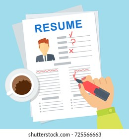 Recruitment vector vector infographics. Employee of personnel department reviews competitor resume. Job search and human resources concept. Flat cartoon character illustration.