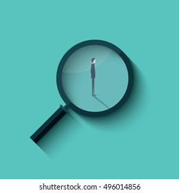 Recruitment vector with magnifying glass and businessman. Business symbol for hiring. Eps10 vector illustration.