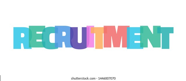 """Recruitment word concept. """"Recruitment"""" on white background. Use for cover, banner, blog."""