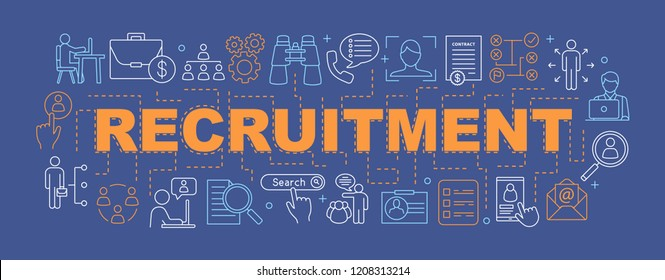 Recruitment word concepts banner. Emloyment. HR management. Headhunting. Presentation, website. Isolated lettering typography idea with linear icons. Vector outline illustration