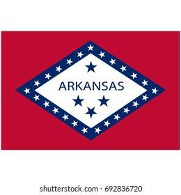 Rectangle Arkansas state flag vector icon isolated on white background. USA Arkansas state flag button