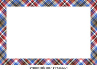 Rectangle borders and Frames vector. Border pattern geometric vintage frame design. Scottish tartan plaid fabric texture. Template for gift card, collage, scrapbook or photo album and portrait.