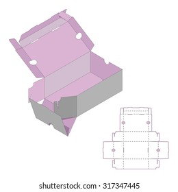 Rectangle Box Design,Container die-stamping, Folding Folded Packaging, Ready Pack, No Glue Needed
