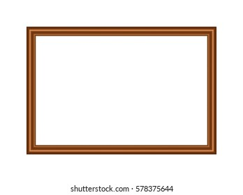 rectangle brown frame, metal bronze, on a white background