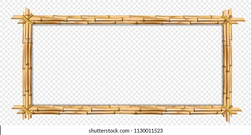 Rectangle brown wooden border frame made of realistic brown bamboo stems with empty copy space for text or image. Vector clip art, banner, template or photo frame isolated on transparent background