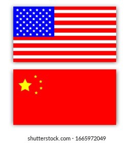 Rectangle Chinese and American flags. vector icon isolated, Chinese and American flags button.