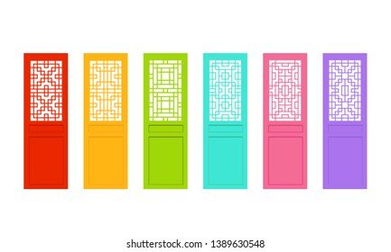 Rectangle Chinese door with asian pattern, vector
