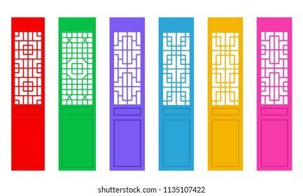 Rectangle Chinese door with pattern , vector