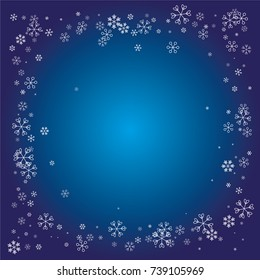 Rectangle Christmas frame or border with white random scatter falling snowflakes on a navy blue background.