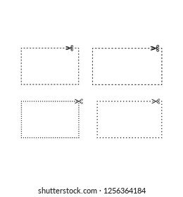 Rectangle coupons dashed and dotted line templates. Coupon vector frame with scissors template set.