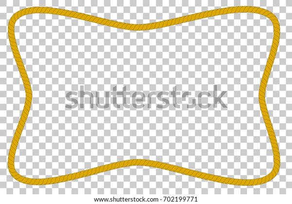 Rectangle Frame from Brown Rope, at Transparent Effect Background
